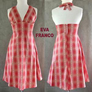 EVA FRANCO Red White Cotton Tie Back Halter Dress